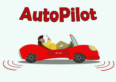 A cartoon red car with passenger in it moving without a driver isolated on white background with simple text