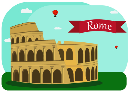 amphitheater: Vector illustration of Roman Coliseum. With simple text Rome.Flat Design.