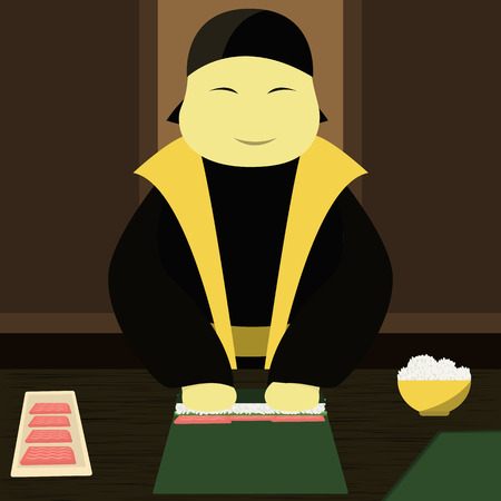 arts culture and entertainment: Japanese chef makes sushi. Vector illustration