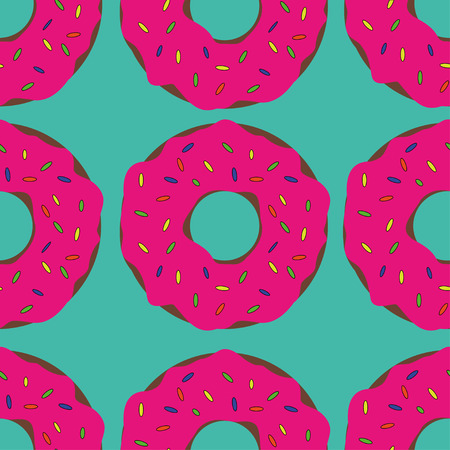 Doughnuts in Pink Glaze on a Blue Background