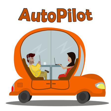 passanger: A cartoon orange car with passenger in it moving without a driver isolated on white background with simple text