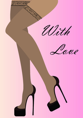 Beautiful female legs wearing stockings and black high-heeled shoes - vector illustration.With simple text With Love