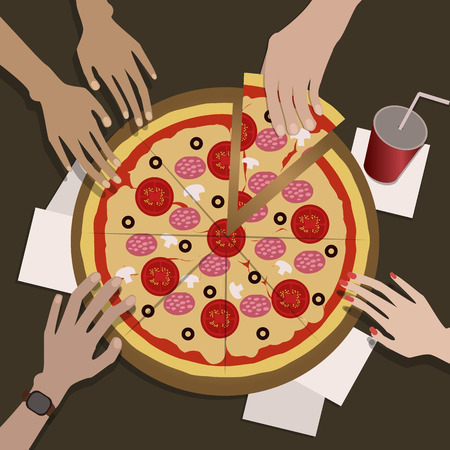 The company of friends eats pizza.On image we see thier hands.