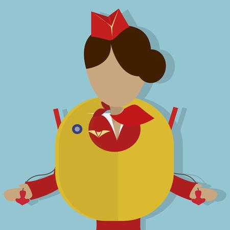 Die Stewardess zeigt die Sicherheitsdemonstration: wie man die Schwimmweste zu verwenden. Vector illustrationon auf blauem Hintergrund Vektorgrafik