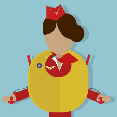 The Stewardess shows the safety demonstration: how to use the  life vest. Vector illustrationon on  blue background