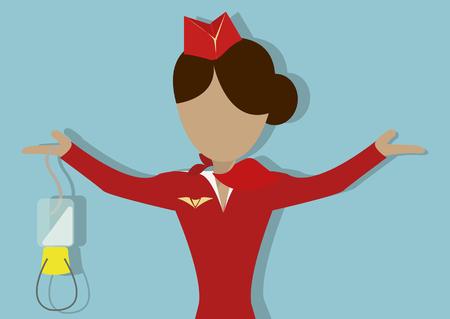 aereo: La hostess mostra come utilizzare la maschera di ossigeno in caso di decompressione. Vector Illustrationon su accordo background.Horizontal blu