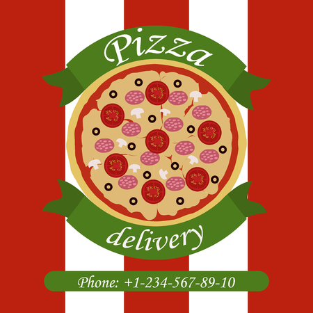 Banner of pizza delivery with phone number and image of pizza