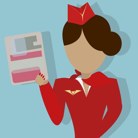 emergency vest: The Stewardess shows the safety demonstration card. Vector illustration on blue background