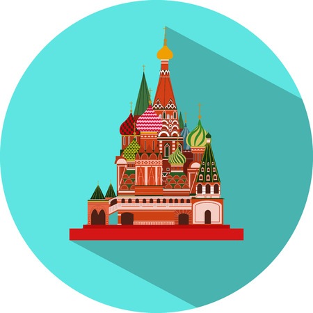 Vector flat design icon of St. Basils Cathedral in blue colour