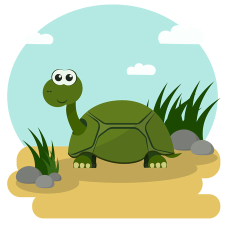 stroll: Cartoon turtle smiling stroll among the green grass. Vector illustration with colorful background. Illustration