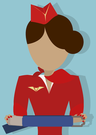 The Stewardess shows how to use the safety seat belt. Vector illustrationon on  blue background.Vertical arrangement