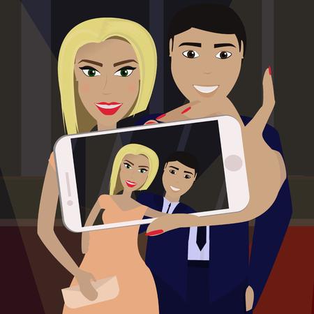 Elegant couple in formal dress on the red carpet in the spotlight. Girl makes selfie.Vector illustration