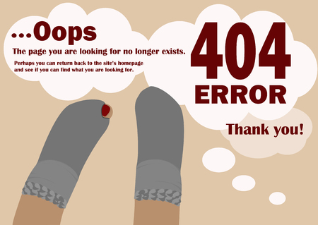 holey: Page not found 404 error with the image of holey socks. A pair of socks with holes which show thumb. Illustration in a flat style.Text ...Oops. Illustration