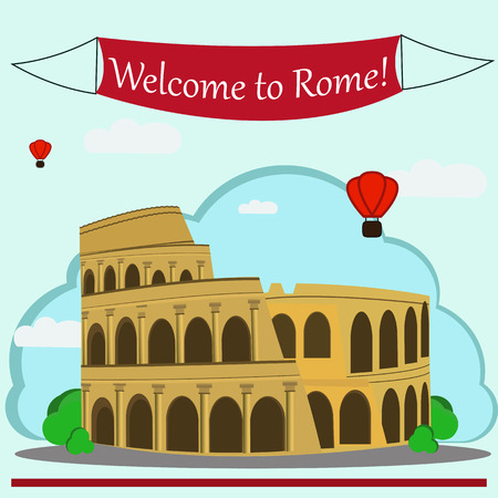 Vector illustration of Roman Coliseum. With simple text Welcome to Rome.Flat Design.