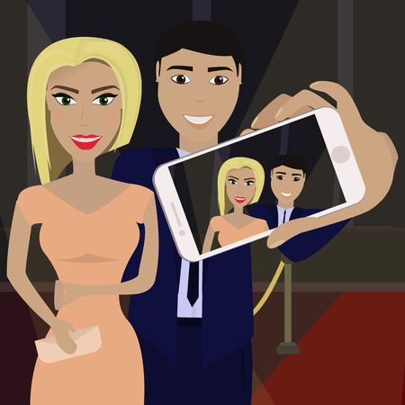 Elegant couple in formal dress on the red carpet in the spotlight. Man makes selfie.Vector illustration