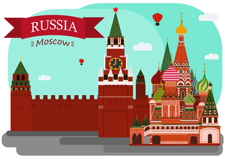 "Vector illustration of Sain Basil's Cathedral and Kremlin. With simple text ""Russia.Moscow"".Flat Design."