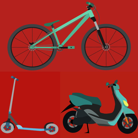 motobike: Set of Simple Vector Transportation(Bicycle , Scooter , Motobike)