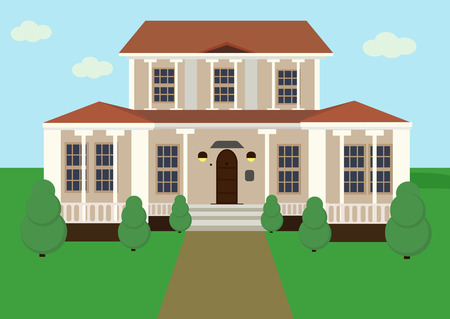 veranda: Vector illustration of big beautiful two-storied cottage