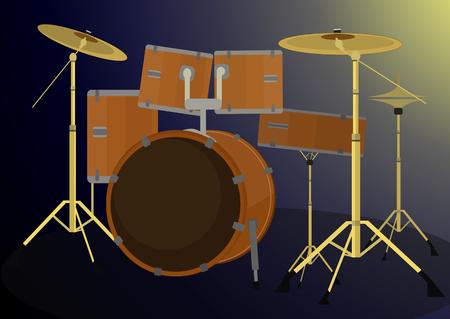 drum set: Drum set vector illustration on dark background. Illustration