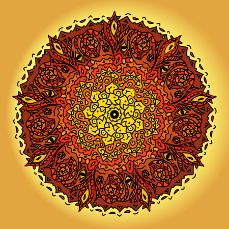fire flower: Vector hand drawn fire flower. Ethnic mandala with colorful ornament.Red, white and yellow colors Illustration