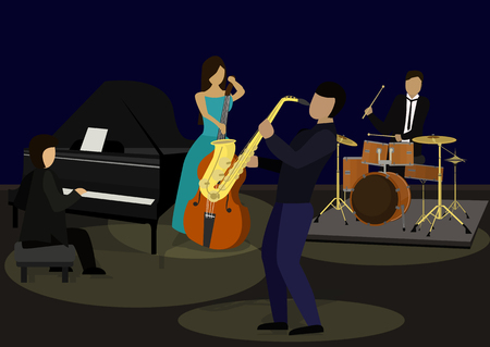 Vector drawing music jazz orchestra. Artists on stage.