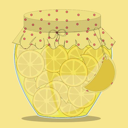 confiture: Vector glass jar of lemon jam with label on it.Lemons in syrup. Illustration