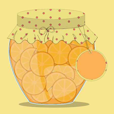 confiture: Vector glass jar of orange jam with label on it.Oranges in syrup.