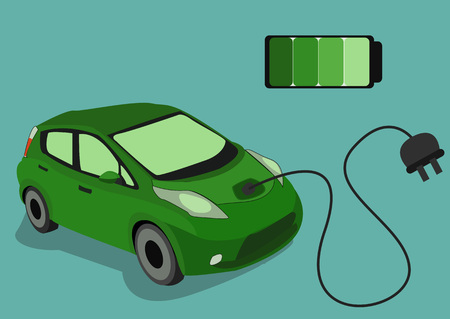 The Image of Green Electrocar isolated on blue background Illustration