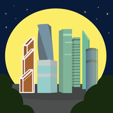 Moscow-city at night Moscow International Business Center , Russia. Vector illustration