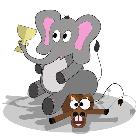 conventions: Cartoon elephant sitting on a donkey crushed him and keeps up in the trunk. Illustration