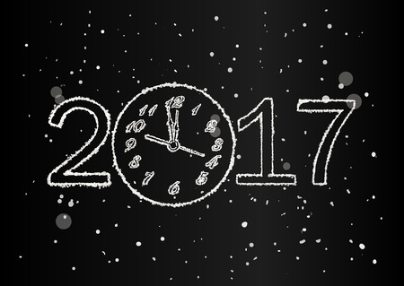 12 days of christmas: Vector 2017 Happy New Year black background with clock and snow