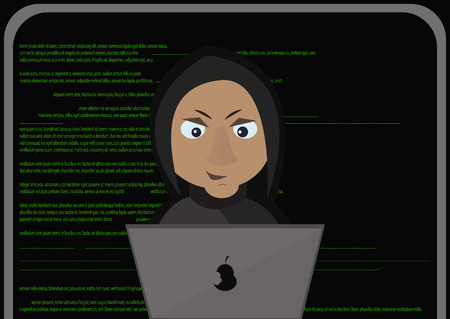 office theft: Programmer hacker working on front of his laptop in the middle of night.Abstract Technology Background. Web Developer.Programming. Coding. Hacker concept. Vector Illustration.