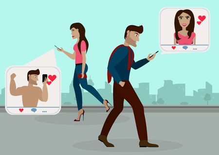 The guy and the girl walking on the street towards each other and browsing social networks, gives to each other likes, but do not see each other in real life.Vector illustration Illustration