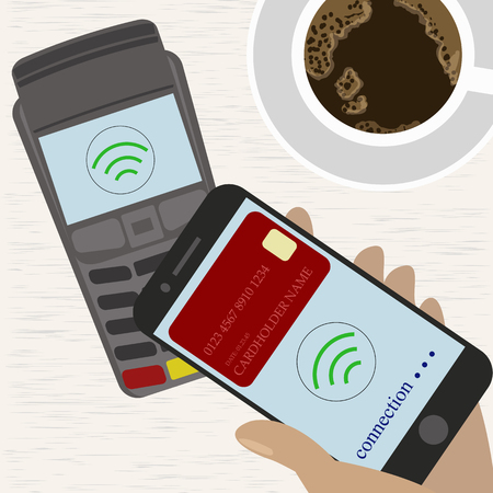 wirelessly: Man holding mobile phone with credit card on the screen paying wirelessly over POS terminal.Vector illustration Illustration