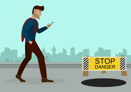 handcuffed: a guy walking down the street with a phone in his hand, browsing social networks, on the road in front of an open door and a sign warning of the danger.Vector Illustration Illustration