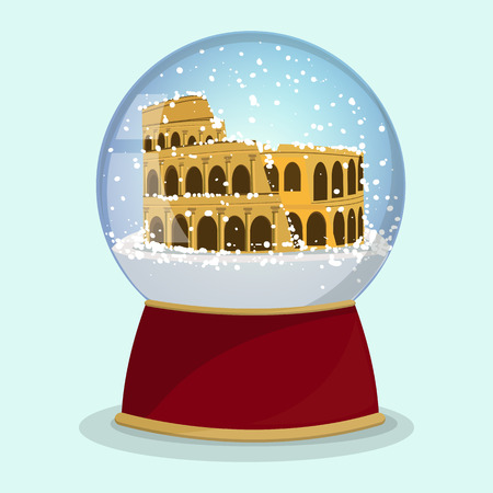 Christmas Snow globe with the falling snow and Roman Coliseum in it. Vector illustration.Rome Illustration