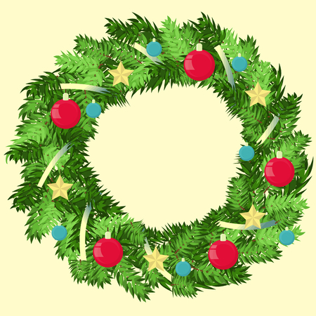 Vector Xmas wreath decorated with balls and stars. Happy new year. Vector illustration.