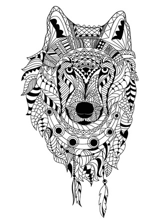 Kleurplaten Volwassenen Wolf.De Kunsthand Die Van De Lijn Zwarte Wolf Trekt Die Op Witte