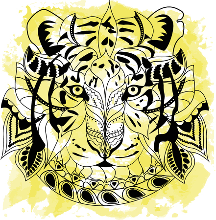 Line art hand drawing black tiger isolated on white background with yellow watercolor blots. Doodle style. Tatoo. Zenart. Zentangle.Coloring for adults.