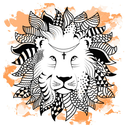 Line art hand drawing black lion isolated on white background with orange watercolor blots. Doodle style. Tatoo. Zenart. Zentangle.Coloring for adults. Vector illustration. Vektoros illusztráció