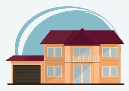 Vektor Illustration Von Bunten Häusern Der Netten Karikatur Für Verkauf  Oder Miete. Vektor