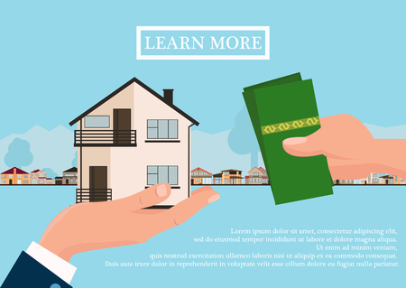 Vector real estate concept in flat style - businessmans hand giving house and buyer give money, web banner, houses for sale or rent. vector illustration