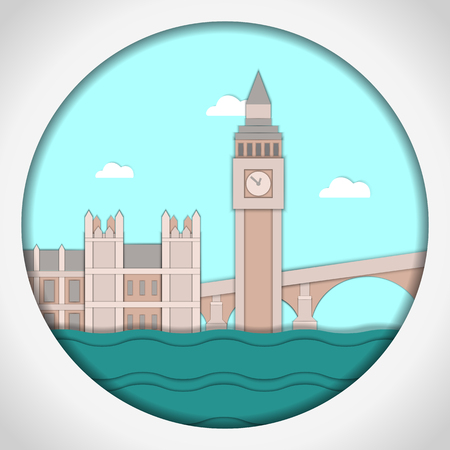 Paper applique style vector illustration. Card with application of Big Ben Tower and Westminster Palace. London.Postcard. Illustration