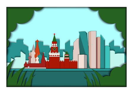 Paper applique style vector illustration. Card with application of Moscow ponorama with Kremlin, St. Basils Cathedral and Moscow City Business center. Postcard