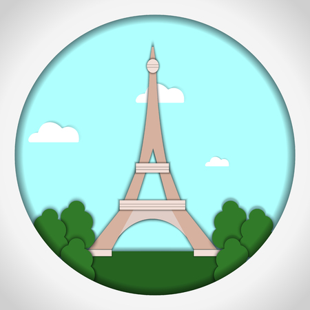 Paper applique style vector illustration. Card with application of Eiffel Tower, Paris, France. Postcard.