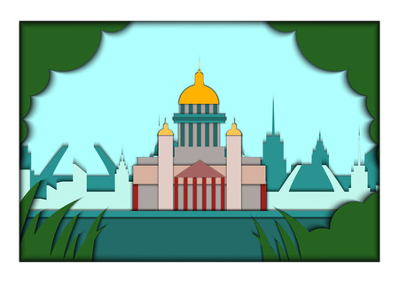 Paper applique style vector illustration. Card with application of Saint Petersburg ponorama with St. Isaacs Cathedral.Postcard Illustration