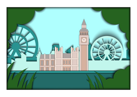 bigben: Paper applique style vector illustration. Card with application of London ponorama with Big Ben Tower and Westminster Palace. London. Postcard