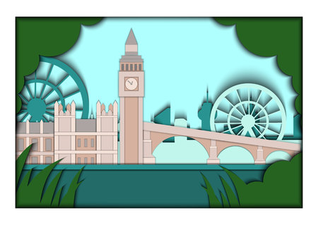 elizabeth tower: Paper applique style vector illustration. Card with application of London ponorama with Big Ben Tower and Westminster Palace. London. Postcard