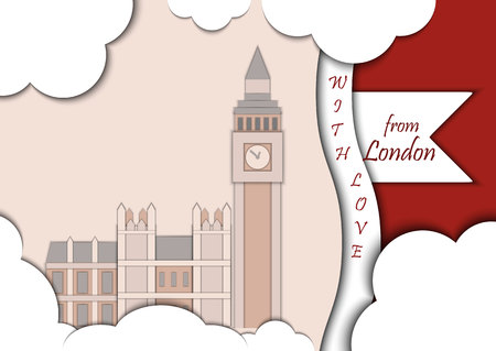 bigben: Paper applique style vector illustration. Card with application of Big Ben Tower and Westminster Palace. London decorated with text from london with love. Postcard