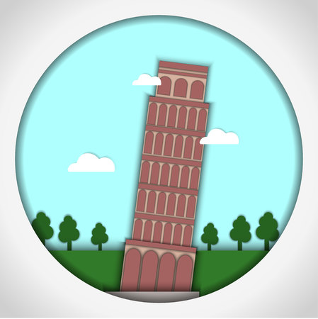 Paper applique style vector illustration. Card with application of Leaning Tower of Pisa, Italy. Postcard.